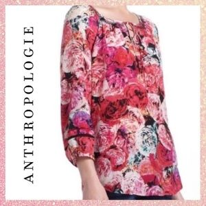 Vanessa Virginia Anthro Floral Tie Blouse Medium M